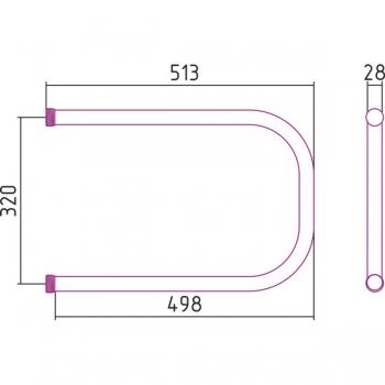 Полотенцесушитель водяной Стилье П-образный 320х500 резьба-cгон 1