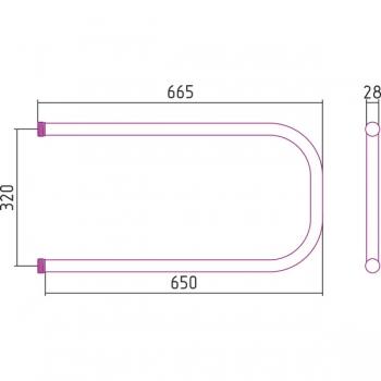 Полотенцесушитель водяной Стилье П-образный 320х650 резьба-cгон 1