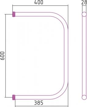 Полотенцесушитель водяной Стилье П-образный 600х400
