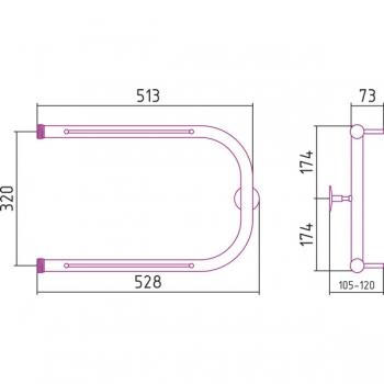 Полотенцесушитель водяной Стилье П-образный 2П 320х500