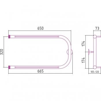 Полотенцесушитель водяной Стилье П-образный 2П 320х650 резьба-cгон 1