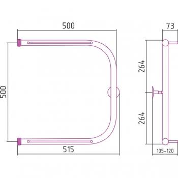Полотенцесушитель водяной Стилье П-образный 2П 500х500 резьба-cгон 1