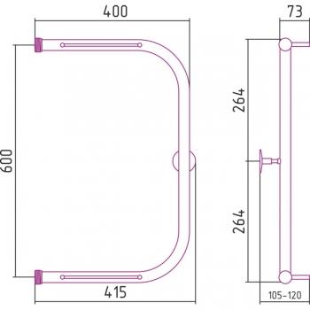 Полотенцесушитель водяной Стилье П-образный 2П 600х400 резьба-cгон 1