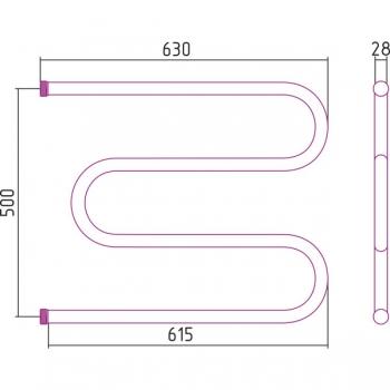 Полотенцесушитель водяной Стилье М-образный 500х650