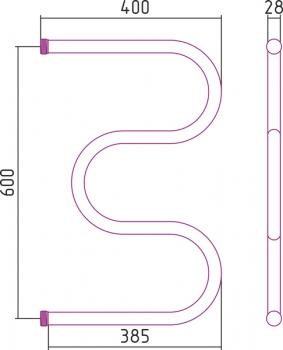 Полотенцесушитель водяной Стилье М-образный 600х400 резьба-cгон 1