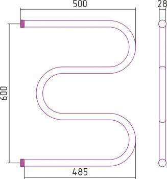 Полотенцесушитель водяной Стилье М-образный 600х500 резьба-cгон 1