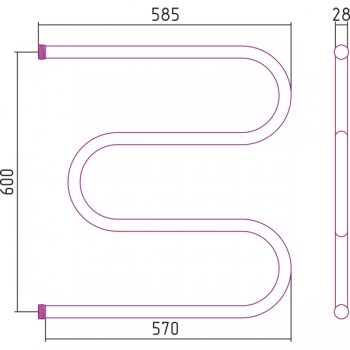 Полотенцесушитель водяной Стилье М-образный 600х600