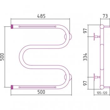 Полотенцесушитель водяной Стилье М-образный 2П 500х500 резьба-cгон 1