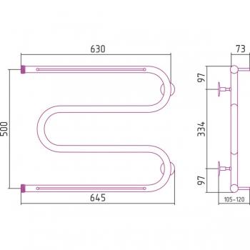 Полотенцесушитель водяной Стилье М-образный 2П 500х650 резьба-cгон 1
