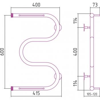 Полотенцесушитель водяной Стилье М-образный 2П 600х400