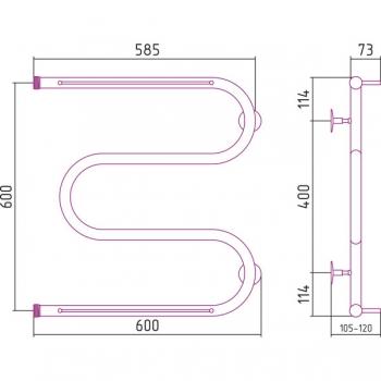 Полотенцесушитель водяной Стилье М-образный 2П 600х600
