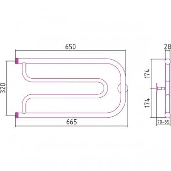 Полотенцесушитель водяной Стилье Дуэт 320х650 резьба-cгон 1