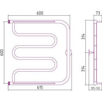 Полотенцесушитель водяной Стилье Тандем 2П 600х600 резьба-cгон 1