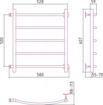 Полотенцесушитель водяной Стилье Версия-Б2 500х500