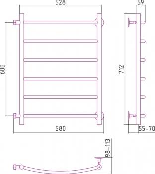 Полотенцесушитель водяной Стилье Версия-Б2 600х500