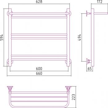 Полотенцесушитель водяной Стилье Версия-Н1 600х600