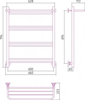 Полотенцесушитель водяной Стилье Версия-Н1 800х600