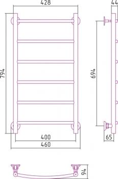 Полотенцесушитель водяной Стилье Версия-Н2 800х400
