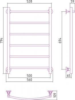 Полотенцесушитель водяной Стилье Версия-Н2 800х500