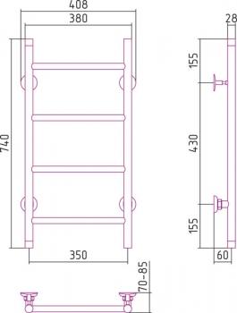 Полотенцесушитель водяной Стилье Версия-НВ 740х350 00623-7435