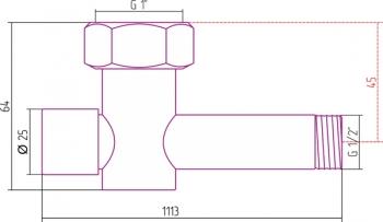 Вентиль запорный Стилье (скрытый) G 1