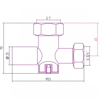 Вентиль с клапаном запорный Стилье (круглый) G 1
