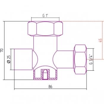 Вентиль с клапаном запорный Стилье (скрытый) G 1