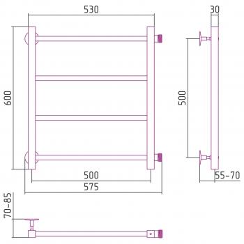 Полотенцесушитель водяной Стилье Версия-КБ 500х500 00630-5050