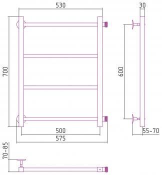 Полотенцесушитель водяной Стилье Версия-КБ 600х500 00630-6050