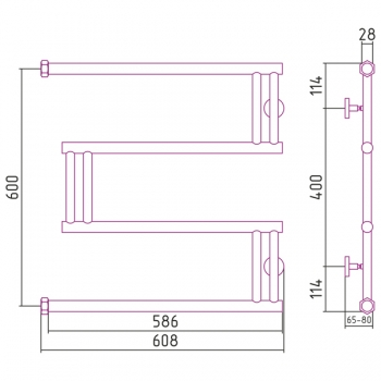Полотенцесушитель водяной Сунержа High-Tech model M 600х600