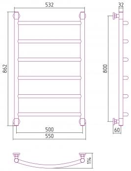 Полотенцесушитель водяной Сунержа Галант+ 800х500 с защитой