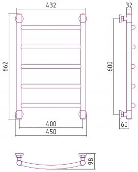 Полотенцесушитель водяной Сунержа Галант+ 600х400 с защитой