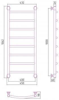 Полотенцесушитель водяной Сунержа Галант+ 1000х400 с защитой