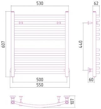 Полотенцесушитель водяной Сунержа Аркус 600х500 с защитой