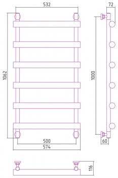 Полотенцесушитель водяной Сунержа Атлант 1000х500 с защитой
