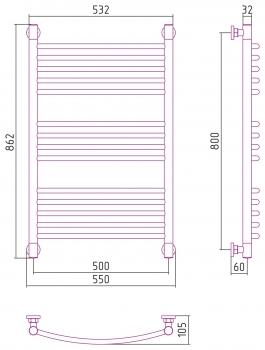 Полотенцесушитель водяной Сунержа Богема+ выгнутая 800х500 с защитой