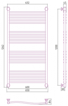 Полотенцесушитель водяной Сунержа Флюид+ 1200х600 с защитой