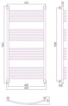 Полотенцесушитель водяной Сунержа Богема+ выгнутая 1200х600 с защитой