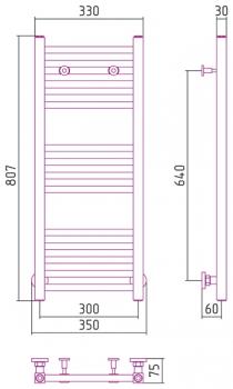 Полотенцесушитель водяной Сунержа Модус 800х300 с защитой