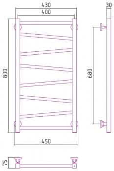Полотенцесушитель водяной Сунержа Сирокко 800х400 с защитой