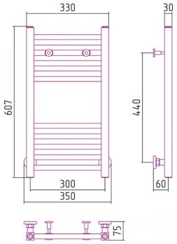 Полотенцесушитель водяной Сунержа Модус 600х300 с защитой