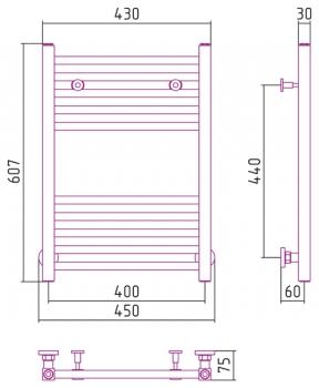 Полотенцесушитель водяной Сунержа Модус 600х400 с защитой