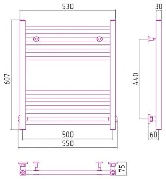 Полотенцесушитель водяной Сунержа Модус 600х500 с защитой