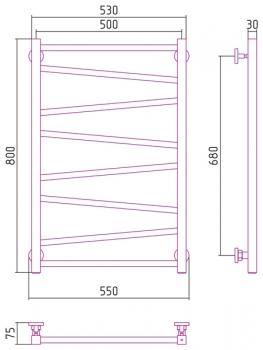 Полотенцесушитель водяной Сунержа Сирокко 800х500 с защитой