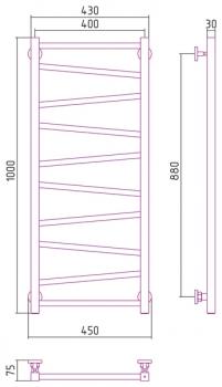 Полотенцесушитель водяной Сунержа Сирокко 1000х400 с защитой