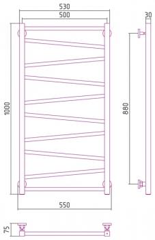 Полотенцесушитель водяной Сунержа Сирокко 1000х500 с защитой
