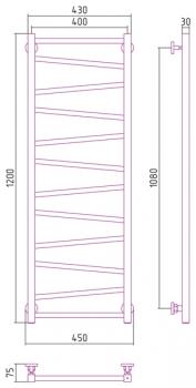 Полотенцесушитель водяной Сунержа Сирокко 1200х400 с защитой