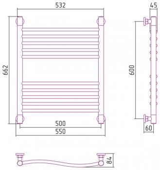 Полотенцесушитель водяной Сунержа Флюид+ 600х500 с защитой