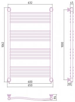 Полотенцесушитель водяной Сунержа Флюид+ 1000х600 с защитой