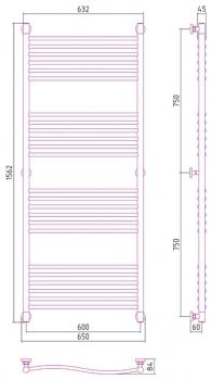 Полотенцесушитель водяной Сунержа Флюид+ 1500х600 с защитой